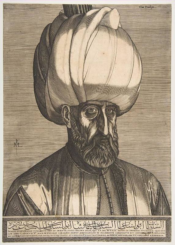 Man Poster featuring the painting Suleyman The Magnificent , Engraved By Melchior Lorck by Melchior Lorck