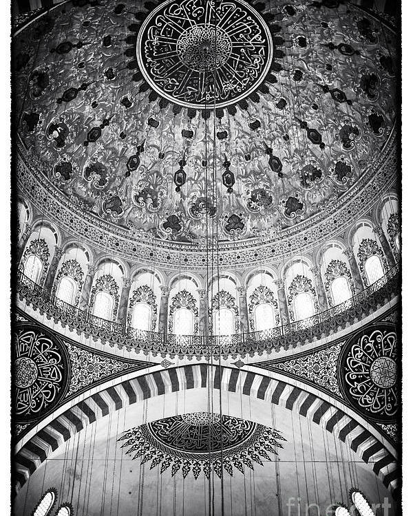 Suleymaniye Mosque Poster featuring the photograph Suleymaniye Ceiling by John Rizzuto