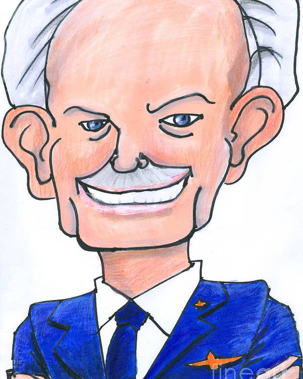 Caricature Poster featuring the drawing Sully Sullenberger Caricature by Stan Levine