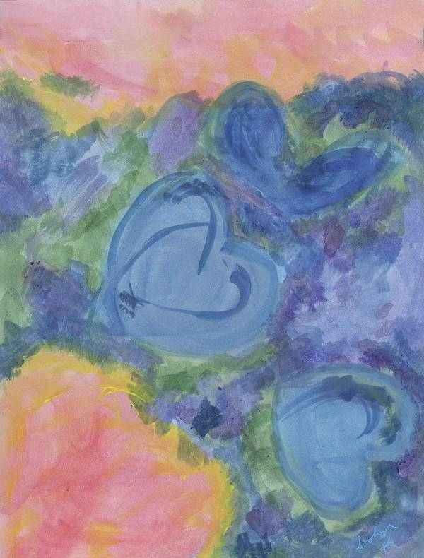 Poster featuring the painting Summer Dance Of The Hearts #49 by Arolyn Krzynowek