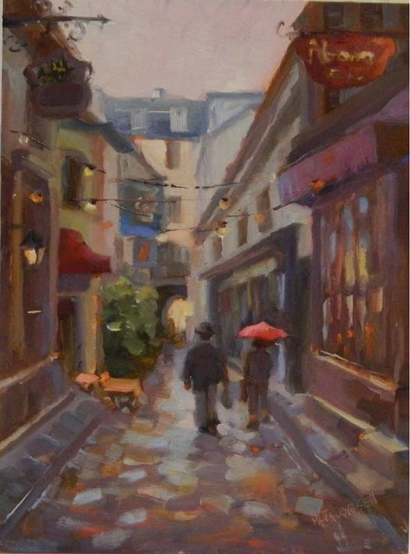 Red Umbrella Poster featuring the painting Summer Days by Maryanne Jacobsen