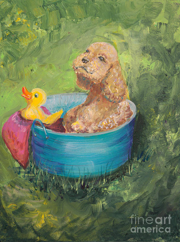 Dog Poster featuring the painting Summer Fun by Nadine Rippelmeyer