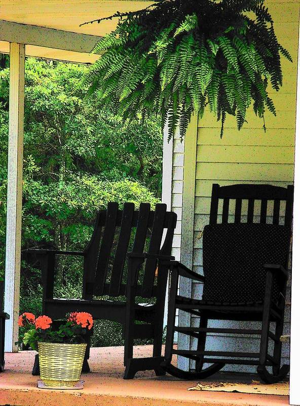 Rocking Chairs Poster featuring the photograph Summer Sitting by Joyce Kimble Smith
