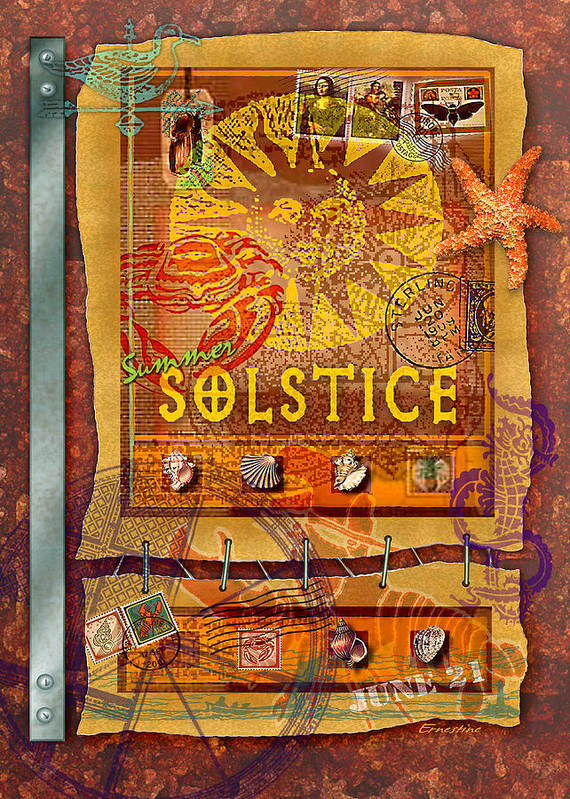 Summer Poster featuring the digital art Summer Solstice by Ernestine Grindal