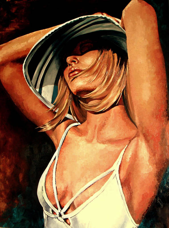 Hat Poster featuring the painting Sun Bathing by Claudia Lardizabal