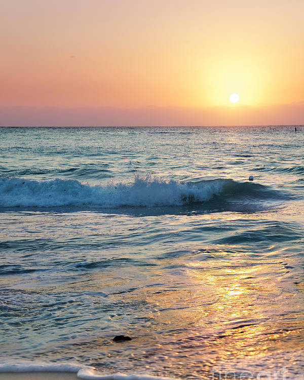 Grand Cayman Poster featuring the photograph Sun Sets Over Seven Mile Beach by Jo Ann Snover