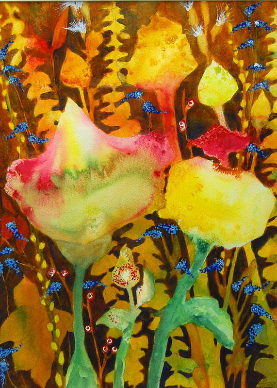 Abstract Floral Poster featuring the painting Sundae Flower Cone by Henny Dagenais