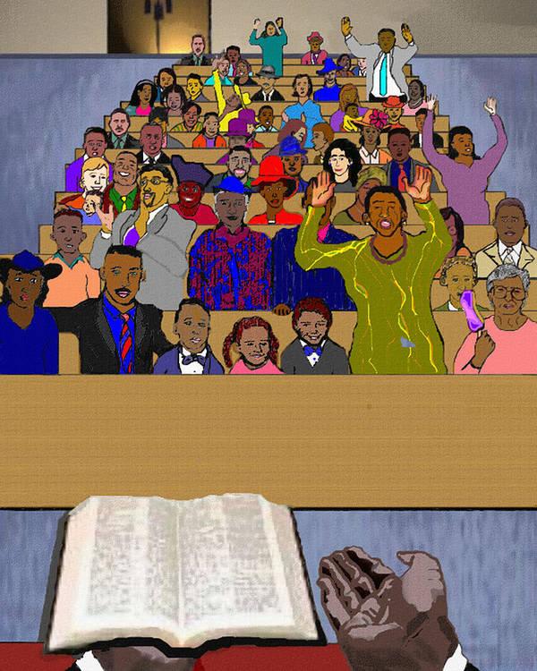 Sermon Poster featuring the painting Sunday Sermon by Pharris Art