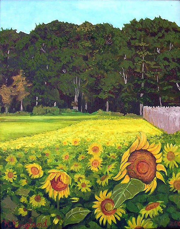 Sunflowers Summer Field Farm Impressionist Landscape Poster featuring the painting Sunflower Field by Hilary England