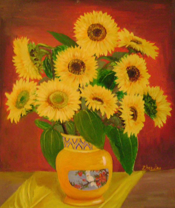 Floral Poster featuring the painting Sunflower by Lian Zhen