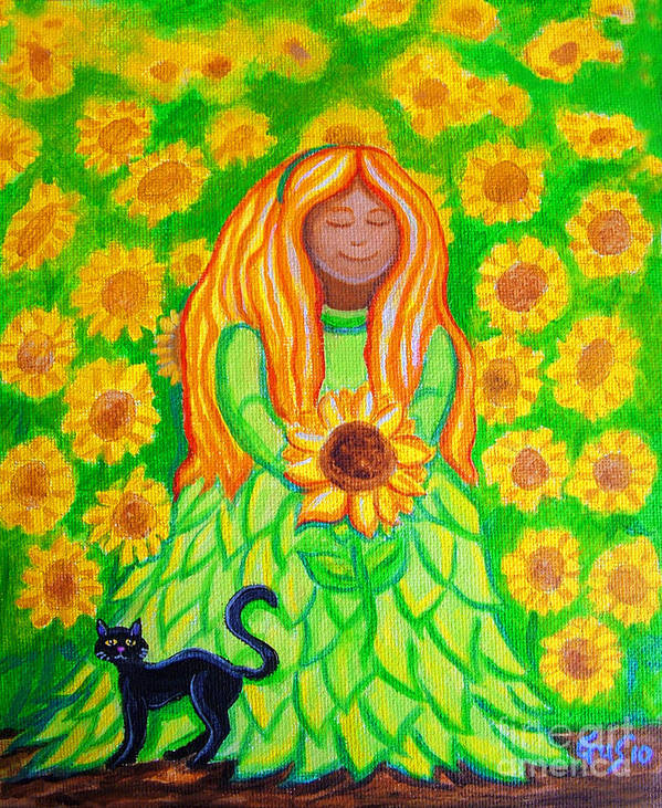 Sunflower Princess Poster featuring the painting Sunflower Princess by Nick Gustafson