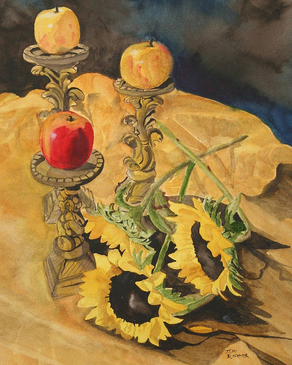 Still Life Poster featuring the painting Sunflowers And Apples by Jean Blackmer