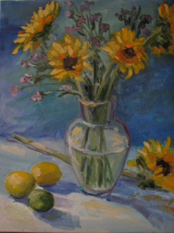 Still Life Poster featuring the painting Sunflowers And Citrus by Sharon Franke