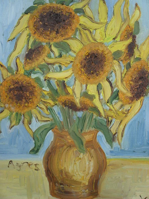 Flowers Poster featuring the painting Sunflowers II. by Agnes V