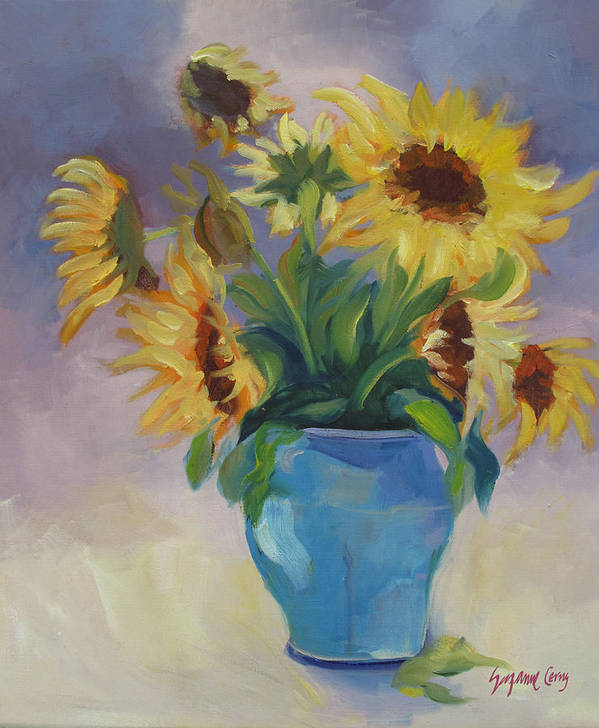 Yellow Sunflowers Poster featuring the painting Sunflowers In Blue Vase by Suzanne Cerny