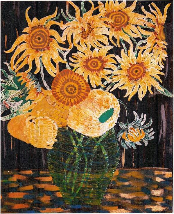 Flowers Poster featuring the painting Sunflowers In Clear Vase by Brenda Adams