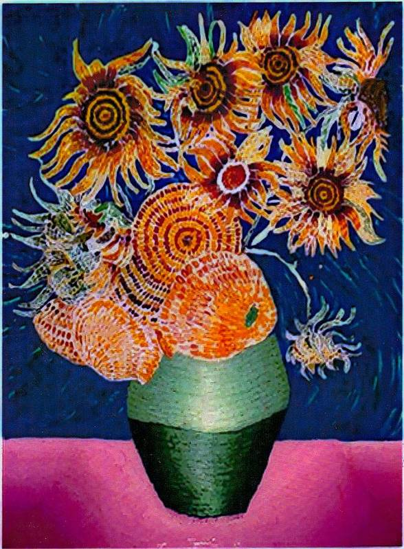 Still Life Poster featuring the painting Sunflowers In Green Vase by Brenda Adams