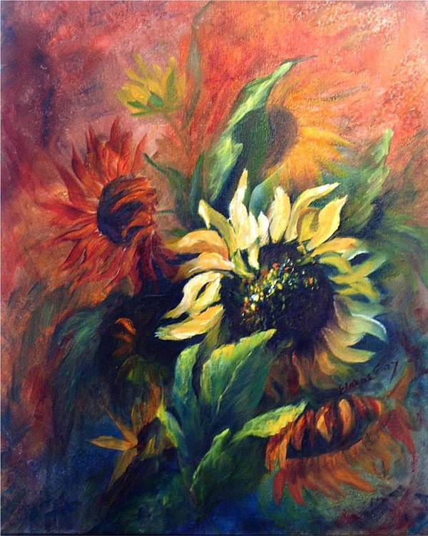 Sunflower Poster featuring the painting Sunflowers In Red by Elaine Bailey