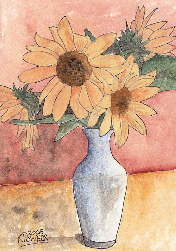 Sunflower Poster featuring the painting Sunflowers In Vase Sketch by Ken Powers