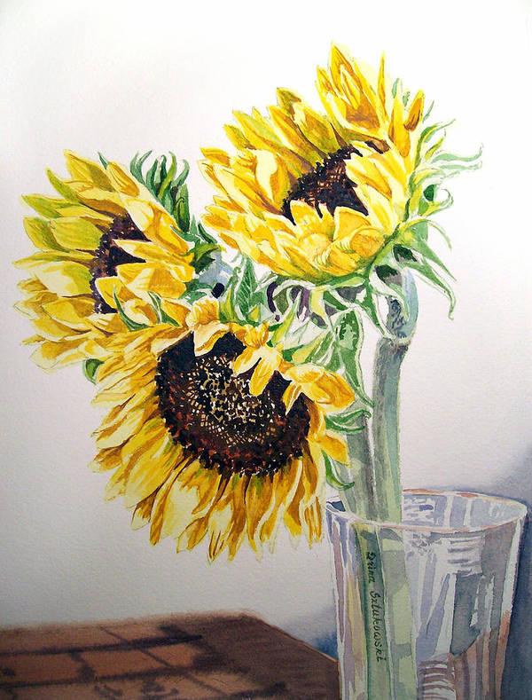 Sunflowers Poster featuring the painting Sunflowers by Irina Sztukowski