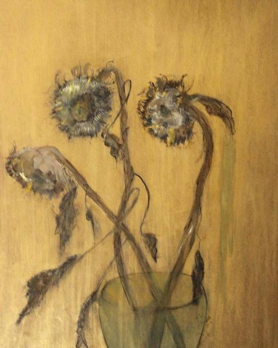 Floral Poster featuring the painting Sunflowers On Gold by Michela Akers