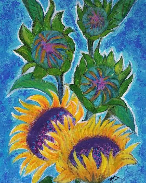 Full Sun Poster featuring the painting sunflowers under Puglia's sun by Jean Fassina