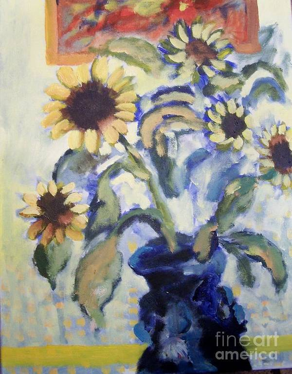 Flowers Poster featuring the painting Sunflowes by Geraldine Liquidano
