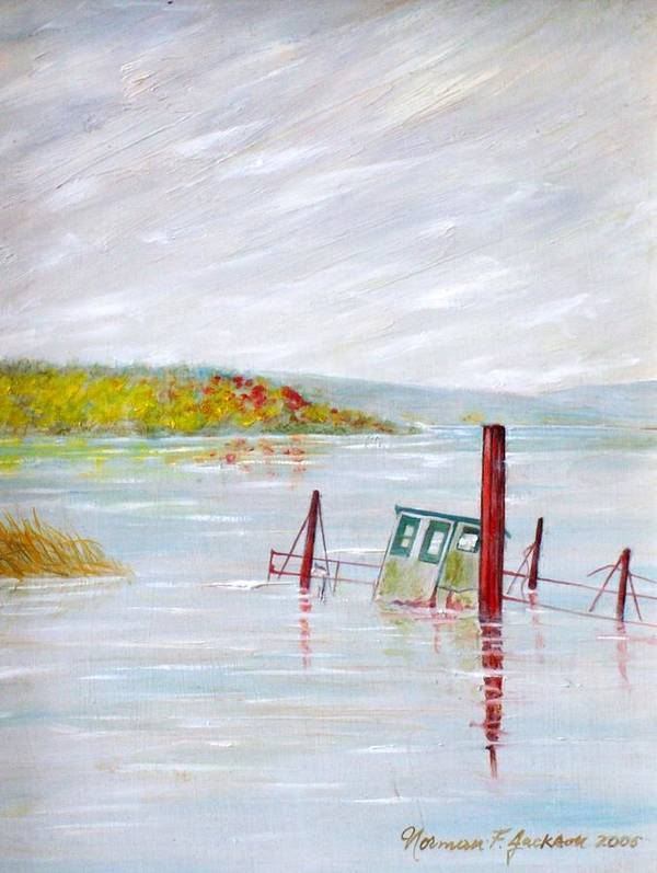 Water Poster featuring the painting Sunken by Norman F Jackson