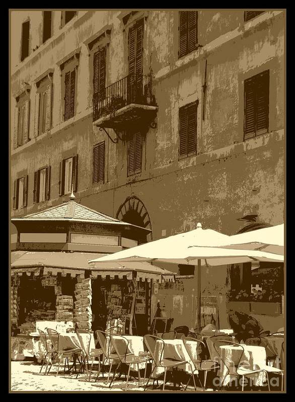 Italy Poster featuring the photograph Sunny Italian Cafe - Sepia by Carol Groenen