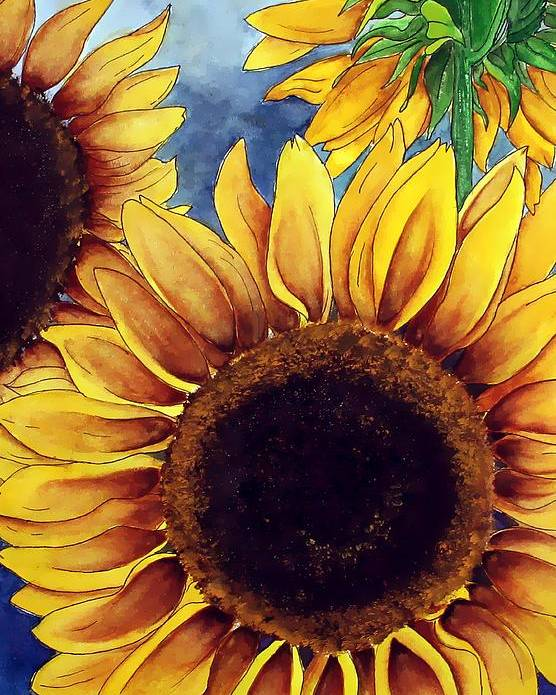 Watercolor Poster featuring the painting Sunny Sunflowers by Mary Gaines