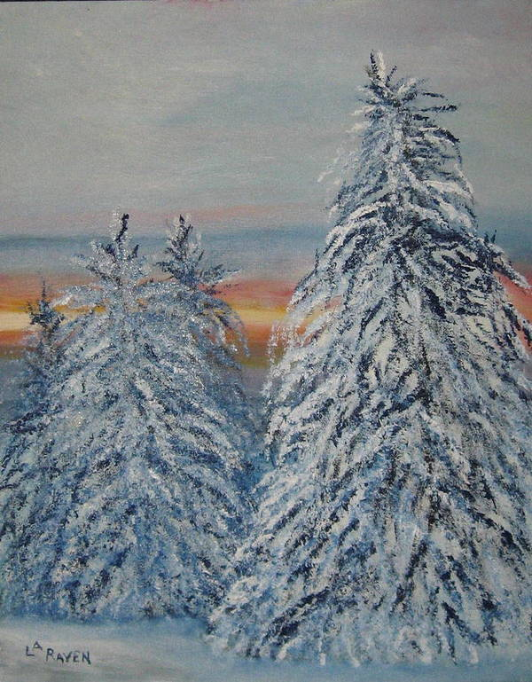 Landscape Poster featuring the painting Sunrise After Snow Storm by L A Raven