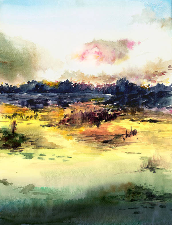 Landscape Water Color Sky Sunrise Water Watercolor Digital Mixed Media Poster featuring the painting Sunrise by Anil Nene