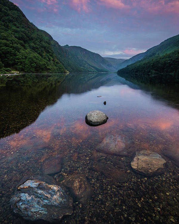 Sunrise Poster featuring the photograph Sunrise at Glendalough Upper Lake #2, County Wicklow, Ireland by Anthony Lawlor