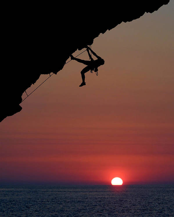 Climbing Poster featuring the photograph Sunrise Climber by Neil Buchan-Grant