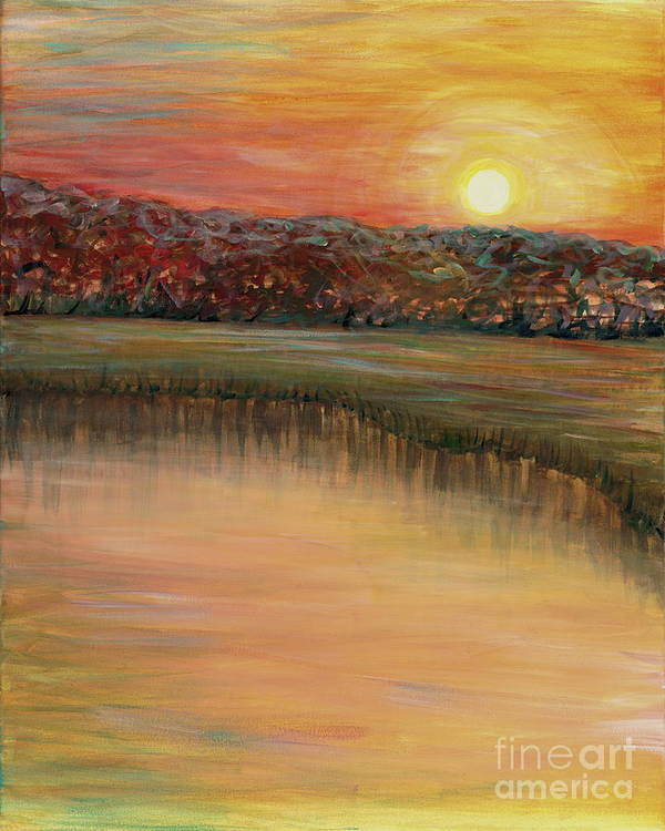 Sunrise Poster featuring the painting Sunrise Over the Marsh by Nadine Rippelmeyer