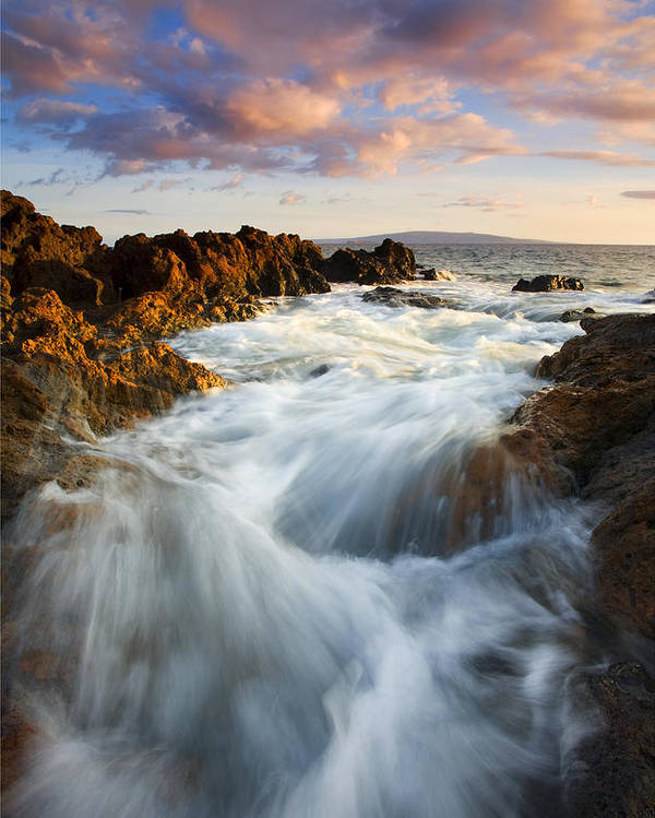 Hawaii Poster featuring the photograph Sunrise Surge by Mike Dawson