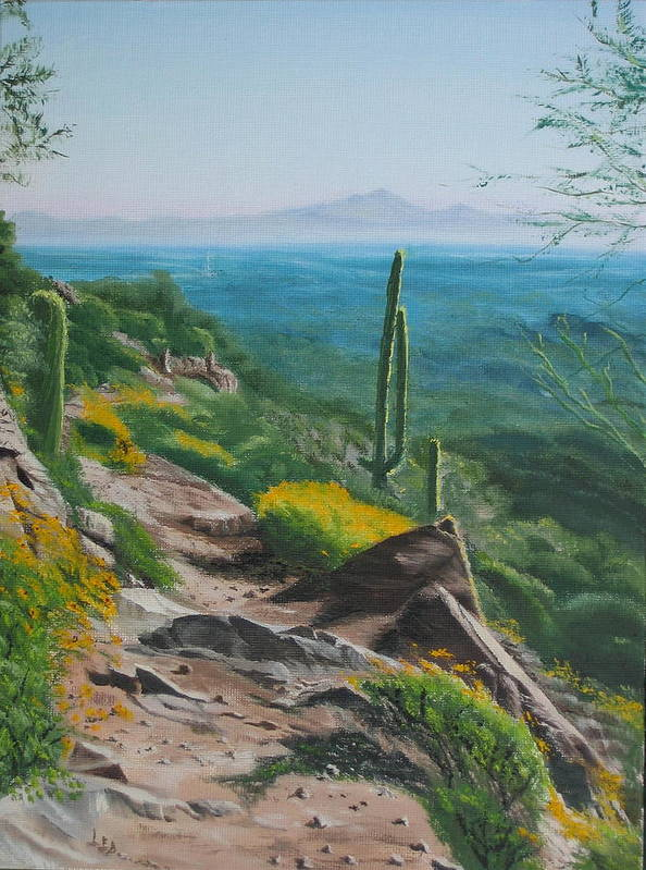 Landscape Poster featuring the painting Sunrise Trail by Lea Novak