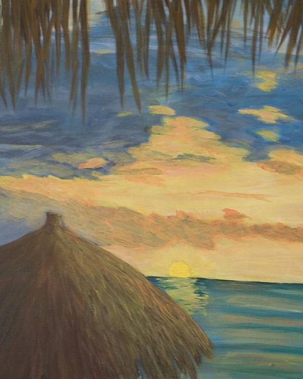 Seascape Poster featuring the painting Sunset by Anita Wann