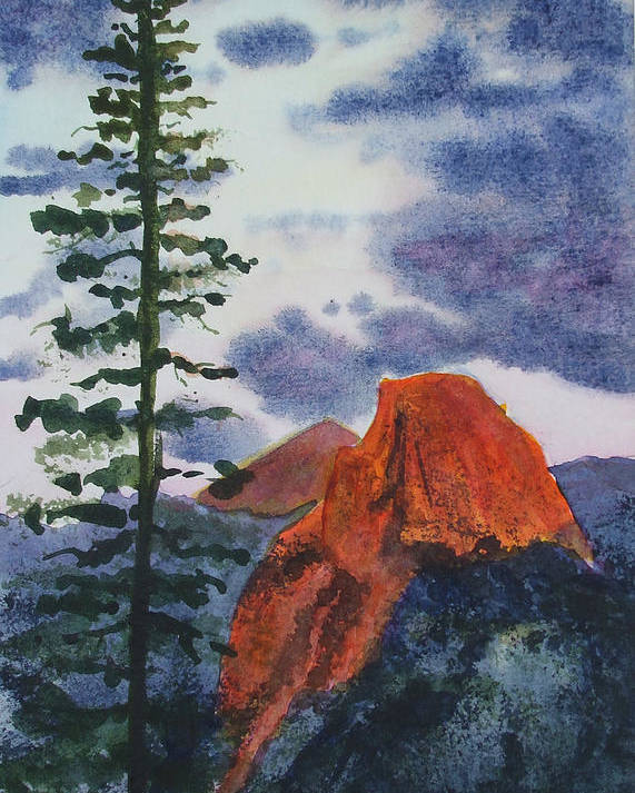 Yosemite Poster featuring the painting Sunset At Half Dome by Ally Benbrook