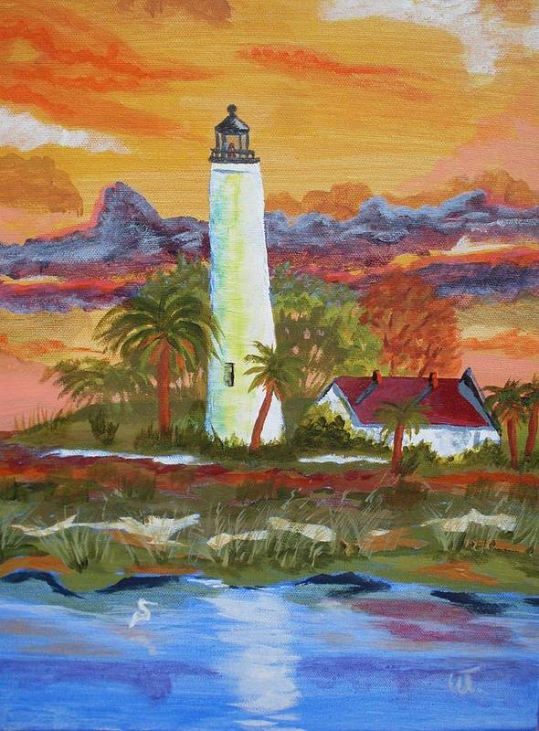 Sunset Poster featuring the painting Sunset At St. Mark's Lighthouse by Warren Thompson