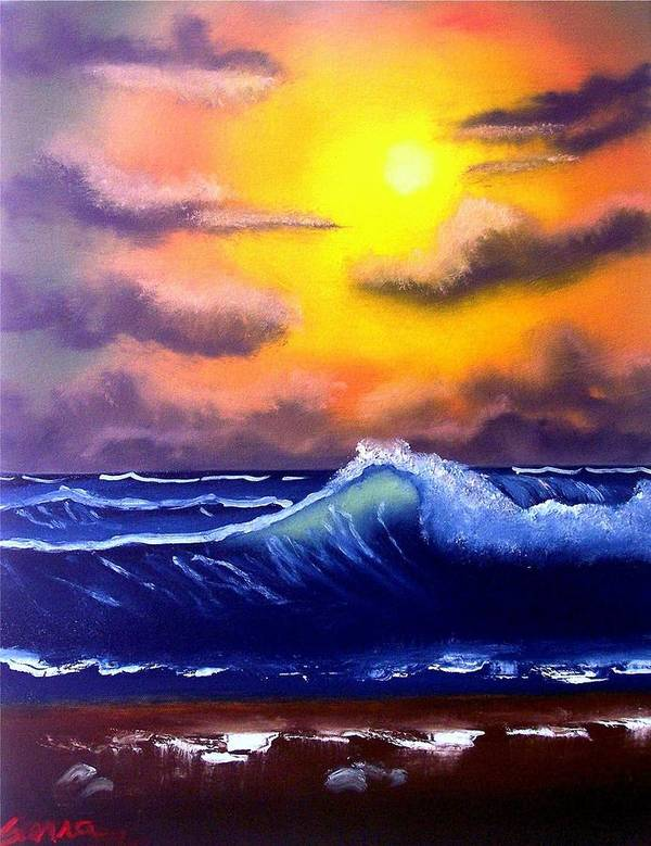 Seascape Poster featuring the painting Sunset Beach by Dina Sierra