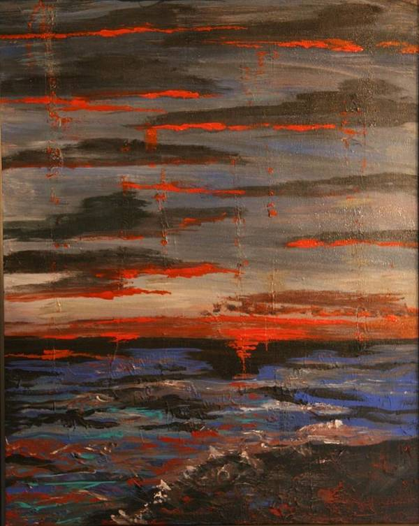 Ocean Poster featuring the painting Sunset Beach by Marilyn Quigley