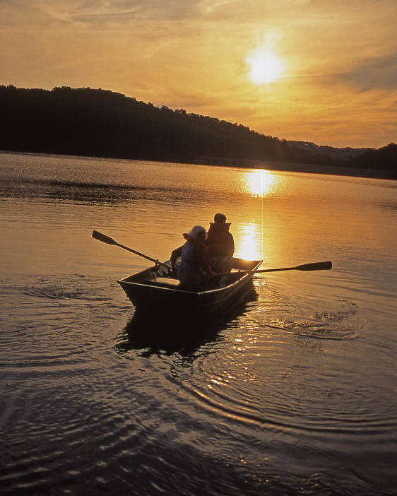 Aged Couples Poster featuring the photograph Sunset Boating by Blair Seitz