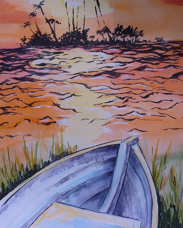 Seascape Poster featuring the painting Sunset Dinghy by Paul Choate