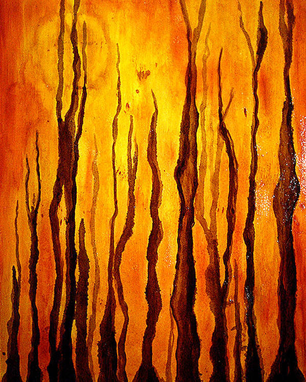 Original Abstract Poster featuring the painting Sunset Forest by Hengameh Kaghazchi