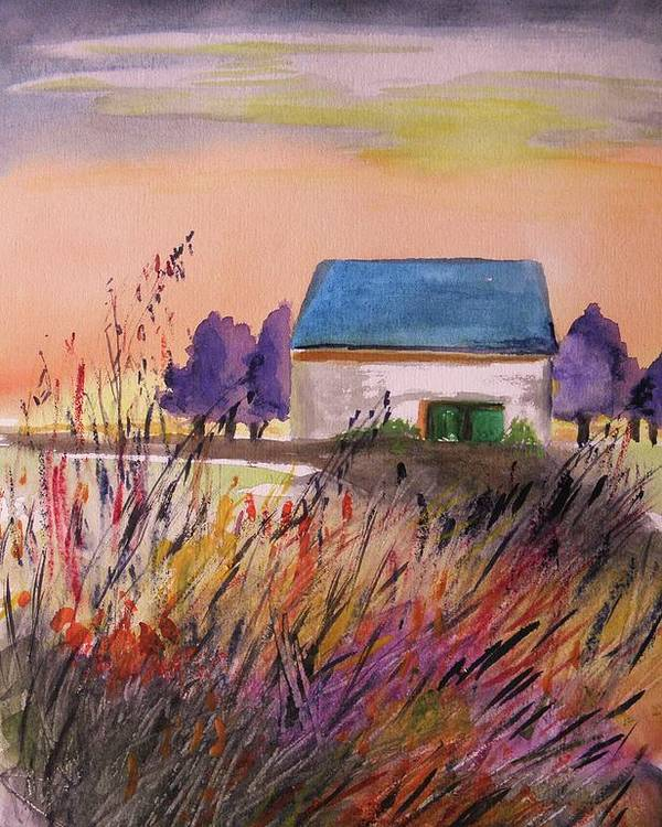 Watercolor Poster featuring the painting Sunset Grasses by John Williams