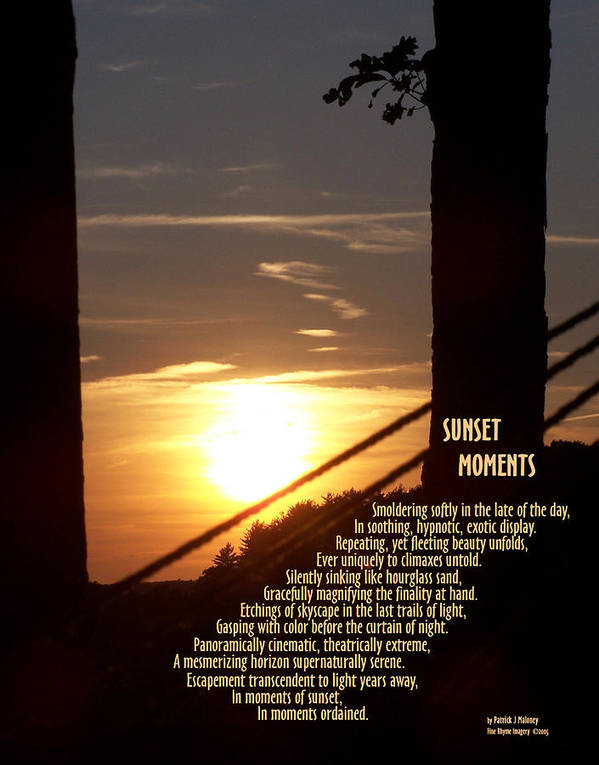 Poetry Poster featuring the mixed media Sunset Moments IIi by Patrick J Maloney