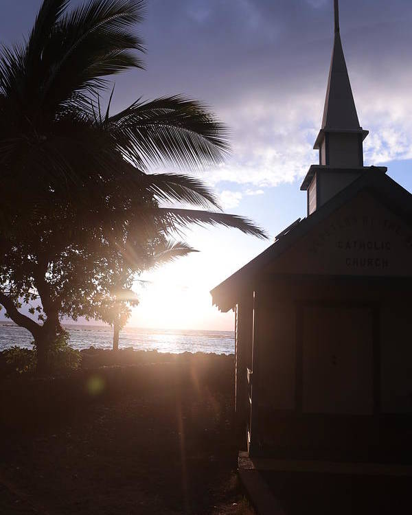 Palm Poster featuring the photograph Sunset On Kona Church by Nelda Mays