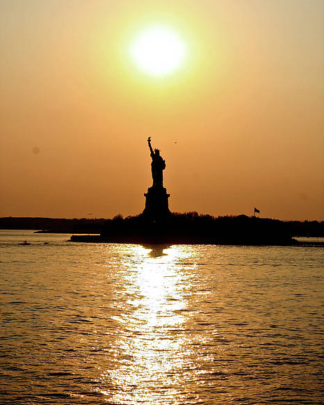 Statue Of Liberty Poster featuring the photograph Sunset On Lady Liberty by Christine Redmond