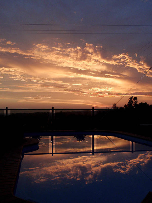 Pool Poster featuring the photograph Sunset Over A Pool by Edan Chapman